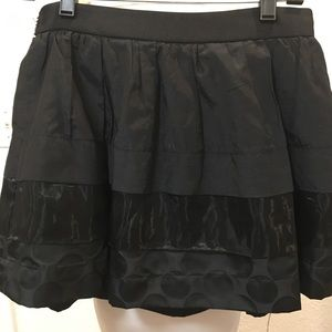 Mini 3 Patterned Banded Black Lined Skirt w/Zipper